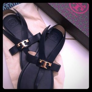 Tory Burch Navy Blue Leather Sandals (size 8.5)